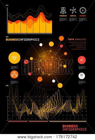 A set of detailed business infographic statistic charts and reports. Vector illustration.