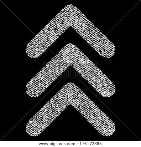 Triple Arrowhead Up vector textured icon for overlay watermark stamps. Fabric white vectorized texture. Symbol with unclean design. Rubber seal stamp with fiber textile structure.