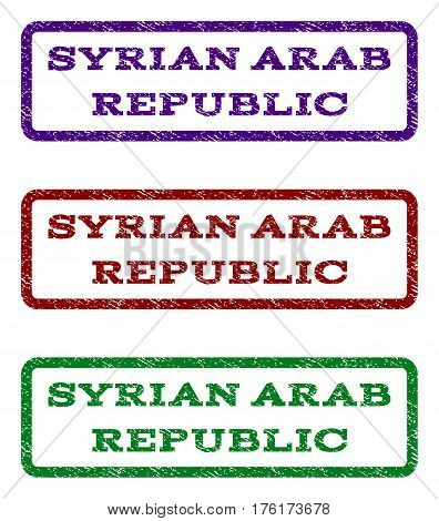 Syrian Arab Republic watermark stamp. Text tag inside rounded rectangle frame with grunge design style. Vector variants are indigo blue, red, green ink colors. Rubber seal stamp with dust texture.