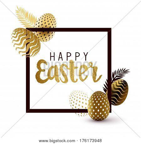 Easter Frame design with gold lettering and gold easter egg patterns. Vector illustration