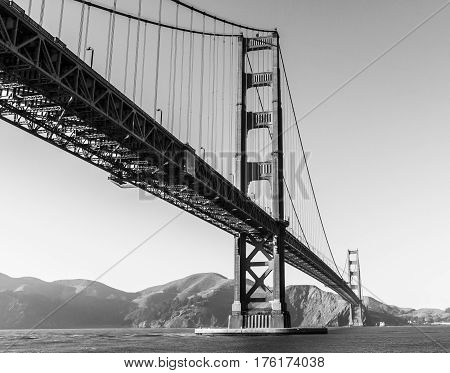 The famous Golden Gate Bridge in Black & White