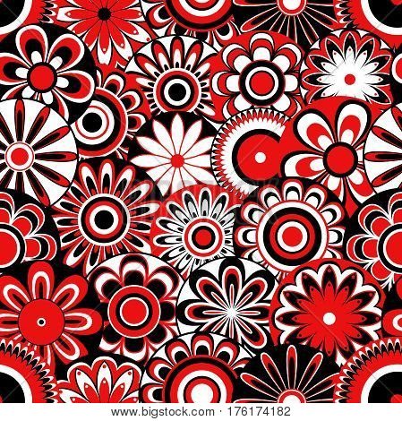 Flowers On Seamless Pattern In Black, White And Red