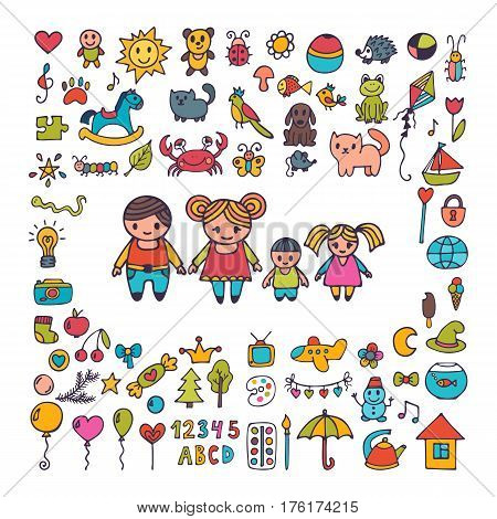 Family. Collection Of Hand Drawn Cute Doodles. Sketch Set Of Drawings In Child Style. Doodle Childre