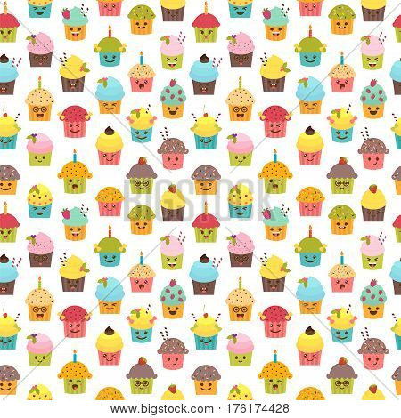 Seamless Pattern With Cupcakes And Muffins. Kawaii Cupcakes. Cute Cartoon Characters, Emoji. Birthda