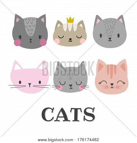Set Of Cute Cats. Funny Doodle Animals. Kittens In Cartoon Style