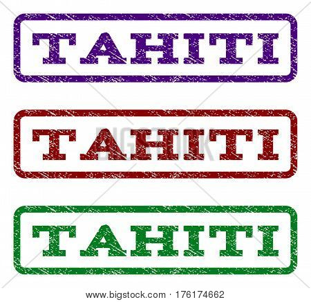Tahiti watermark stamp. Text caption inside rounded rectangle frame with grunge design style. Vector variants are indigo blue, red, green ink colors. Rubber seal stamp with scratched texture.