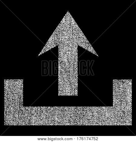Upload vector textured icon for overlay watermark stamps. Fabric white vectorized texture. Symbol with dust design. Rubber seal stamp with fiber textile structure.