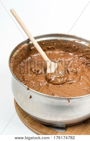 Mixing Chocolate Cocoa Brown Cream For Cake With Copy Space