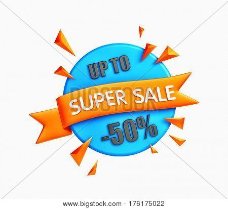 Great sale banner - big clearance. 3d illustration