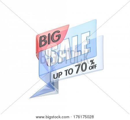 Big sale banner - glass banners. 3d illustration
