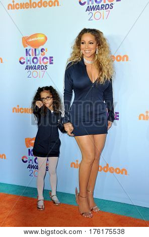 Mariah Carey and Monroe Cannon at the Nickelodeon's 2017 Kids' Choice Awards held at the USC Galen Center in Los Angeles, USA on March 11, 2017.