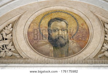 ROME, ITALY - SEPTEMBER 05: Saint Matthias the Apostle mosaic in the basilica of Saint Paul Outside the Walls, Rome, Italy on September 05, 2016.
