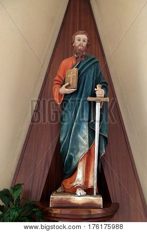 TIRANA, ALBANIA - SEPTEMBER 27: Saint Paul the Apostle statue in St Paul's Cathedral in Tirana, Albania on September 27, 2016.