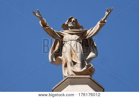 SHKODER, ALBANIA - SEPTEMBER 30: Jesus Christ Savior and Redeemer of the World, St Stephen's Cathedral in Shkoder, Albania on September 30, 2016.