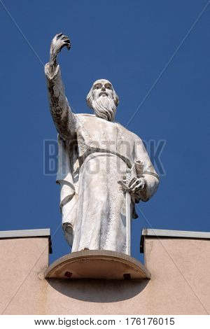 TIRANA, ALBANIA - SEPTEMBER 27: Saint Paul the Apostle statue on St Paul's Cathedral in Tirana, Albania on September 27, 2016.