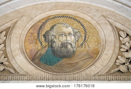 ROME, ITALY - SEPTEMBER 05: Apostle Saint James the Great, mosaic in the basilica of Saint Paul Outside the Walls, Rome, Italy on September 05, 2016.