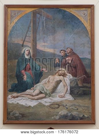 SHKODER, ALBANIA - SEPTEMBER 30: The Lamentation of Christ,  St Stephen's Cathedral in Shkoder, Albania on September 30, 2016.