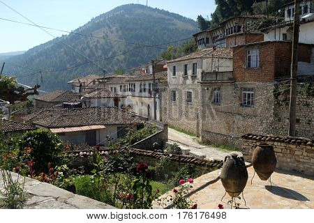 BERAT, ALBANIA - OCTOBER 01, 2016: Traditional ottoman houses in old town Berat known as the White City of Albania on October 01, 2016.