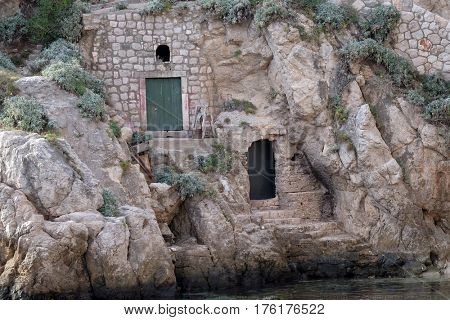 DUBROVNIK, CROATIA - NOVEMBER 30: House in old port Kolorina, Dubrovnik, Croatia on November 30, 2015.