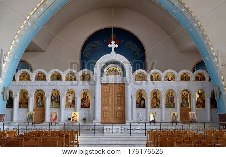 TIRANA, ALBANIA - SEPTEMBER 27: Interior of the new Orthodox Cathedral of the Resurrection of Christ in Tirana, Albania on September 27, 2016.