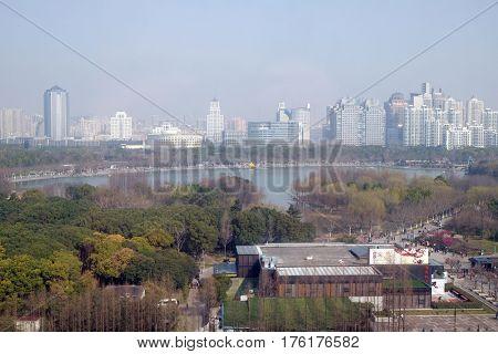 SHANGHAI, CHINA - FEBRUARY 27: Shanghai city at morning in foggy day in Shanghai, China on February 27, 2016.
