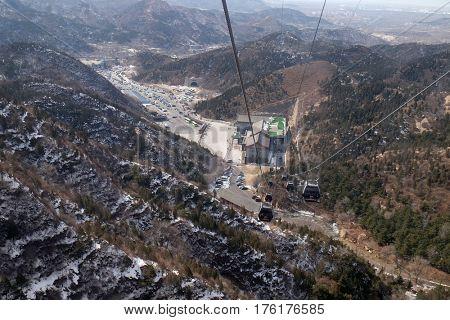 BADALING - FEBRUARY 24:  Cable car at the Badaling Great Wall, China, February 24, 2016.