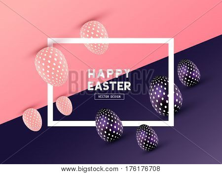 An abstract Easter Frame Design with 3D effects and room for promotion / holiday messages. Vector illustration