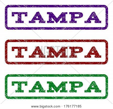 Tampa watermark stamp. Text tag inside rounded rectangle with grunge design style. Vector variants are indigo blue, red, green ink colors. Rubber seal stamp with dust texture.