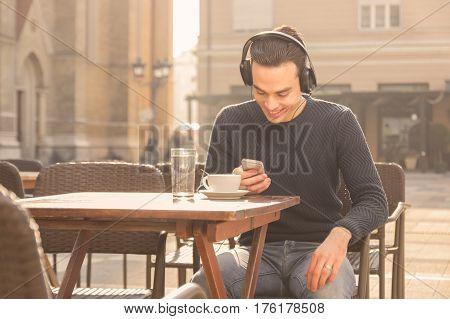 Enjoying Young Man Sunny Day Smartphone Headphones