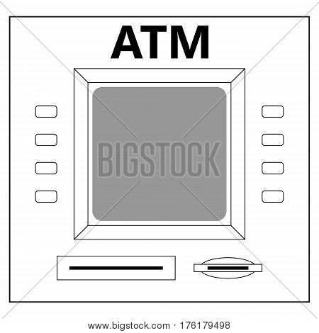 ATM for cash withdrawal, cash machine buttons of the monitor and tray, vector