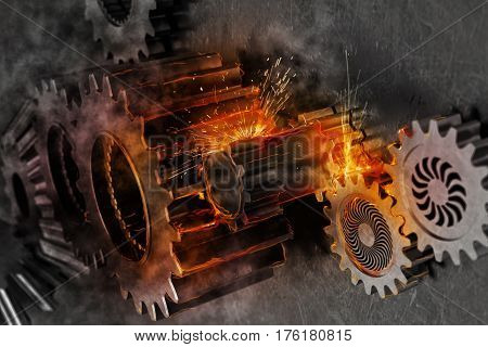 System of a mechanism gear move together with sparks of fire. 3D Rendering