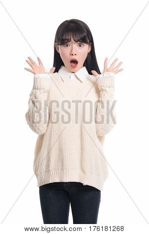 Studio portrait of amazed twenties Asian woman