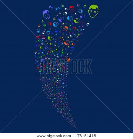 Face random fireworks stream. Vector illustration style is flat bright multicolored iconic symbols on a blue background. Object fountain constructed from scattered pictographs.