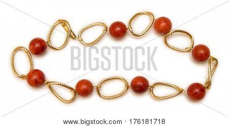 Nice elegant necklace isolated on white background