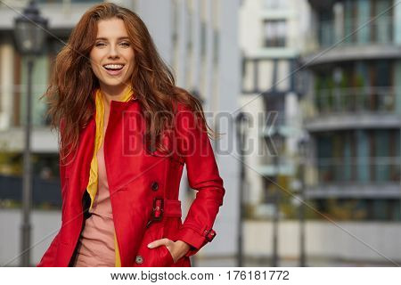 Spring woman in red coat