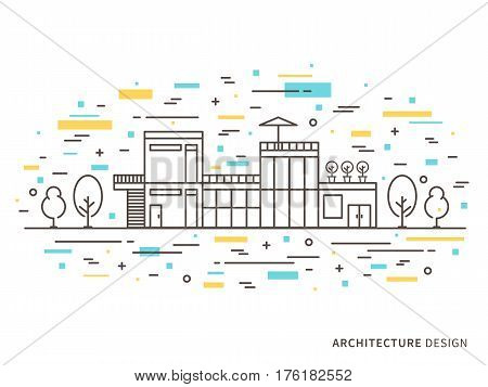 Linear flat architecture landscape design illustration of modern designer house mansion homestead with windows door stairs trees. Outline vector graphic concept of architecture landscape design.