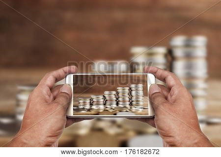 Online and mobile banking and networking people business network concept Saving account and money concept