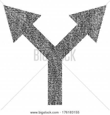 Bifurcation Arrow Up vector textured icon for overlay watermark stamps. Fabric black vectorized texture. Symbol with dirty design. Rubber seal stamp with fiber textile structure.