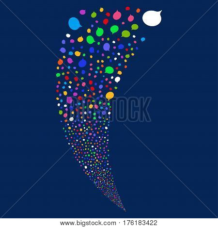 Hint random fireworks stream. Vector illustration style is flat bright multicolored iconic symbols on a blue background. Object fountain made from scattered icons.