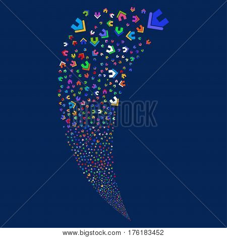 Home random fireworks stream. Vector illustration style is flat bright multicolored iconic symbols on a blue background. Object fountain constructed from scattered pictographs.