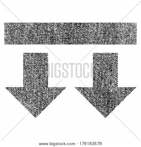 Bring Down vector textured icon for overlay watermark stamps. Fabric black vectorized texture. Symbol with unclean design. Rubber seal stamp with fiber textile structure.
