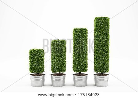 Plants on vases as statistic graph. Growing the economy concept 3D Rendering