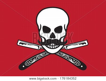 Skull with crossed razors Vector illustration of skull with moustache and vintage straight razors
