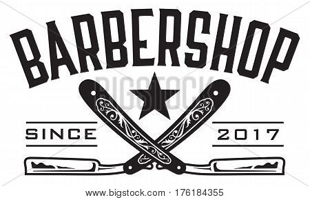 Retro Barbershop Logo Vector design barbershop emblem with crossed straight razors.