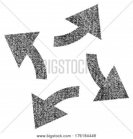 Centrifugal Arrows vector textured icon for overlay watermark stamps. Fabric black vectorized texture. Symbol with unclean design. Rubber seal stamp with fiber textile structure.