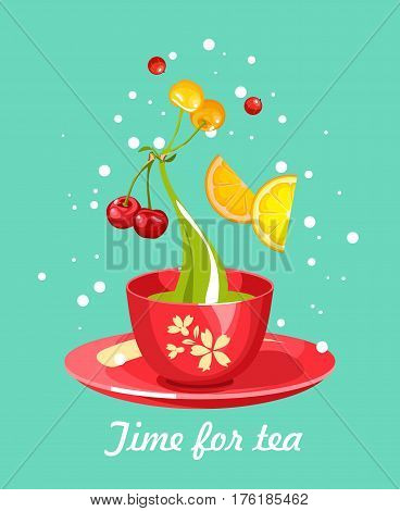 vector illustration tea party card with a cup of tea and berry perfect for invitations. business card on a blue background