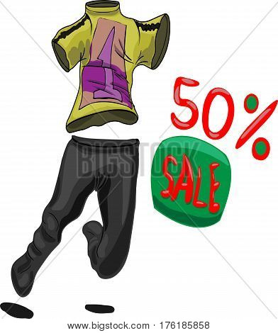 This is a sports suit with a discount and with a picture on a T-shirt in the form of a number one. This sportswear very much wants to be worn. She aspires to the buyer, as if running to him. Drawing is useful to sports shops.