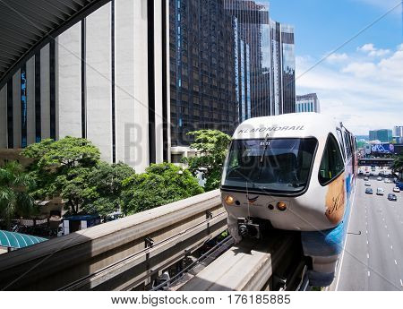 KUALA LUMPUR MALAYSIA 18 FEBRUARY 2017 : Monorail train arriving to the station