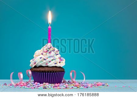 Cupcake with pink birthday candle and sprinkles over a blue background