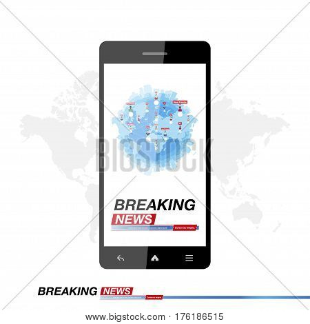 Breaking News on smartphone with background of the world map. Modern mobile TV. Vector illustration EPS 10